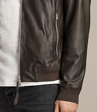 Mens Boxley Leather Bomber Jacket (GRAPHITE GREY) - product_image_alt_text_2