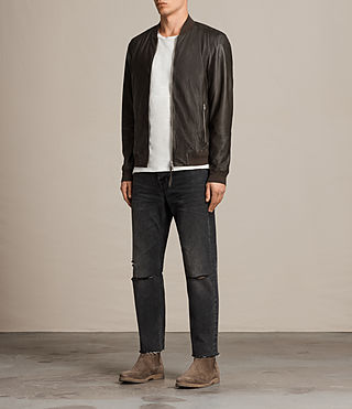 Mens Boxley Leather Bomber Jacket (GRAPHITE GREY) - product_image_alt_text_3