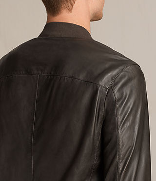 Mens Boxley Leather Bomber Jacket (GRAPHITE GREY) - product_image_alt_text_5