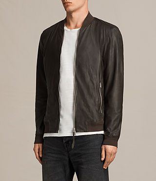 Mens Boxley Leather Bomber Jacket (GRAPHITE GREY) - product_image_alt_text_6