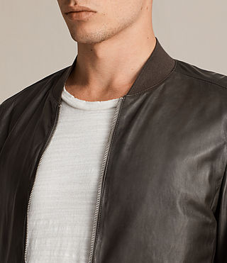 Mens Boxley Leather Bomber Jacket (GRAPHITE GREY) - product_image_alt_text_7