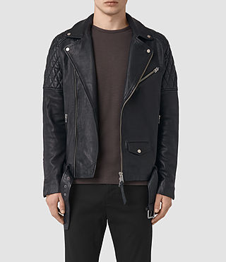 Mens Boyson Leather Biker Jacket (INK NAVY)