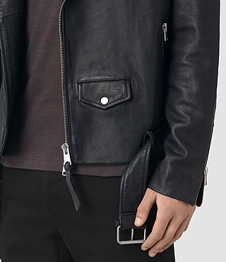 Mens Boyson Leather Biker Jacket (INK NAVY) - product_image_alt_text_2