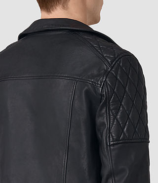 Mens Boyson Leather Biker Jacket (INK NAVY) - product_image_alt_text_3