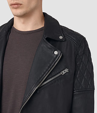 Mens Boyson Leather Biker Jacket (INK NAVY) - product_image_alt_text_4