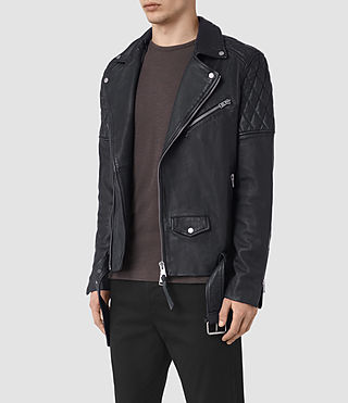 Mens Boyson Leather Biker Jacket (INK NAVY) - product_image_alt_text_5