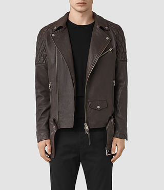 Herren Boyson Leather Biker Jacket (ANTHRACITE GREY) -