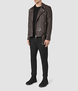 Herren Boyson Leather Biker Jacket (ANTHRACITE GREY) - product_image_alt_text_2