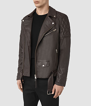 Herren Boyson Leather Biker Jacket (ANTHRACITE GREY) - product_image_alt_text_4