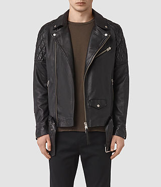 Hombres Boyson Leather Biker Jacket (Black)