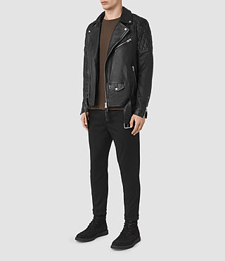 Hombre Boyson Leather Biker Jacket (Black) - product_image_alt_text_2