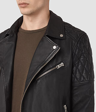 Hombre Boyson Leather Biker Jacket (Black) - product_image_alt_text_3