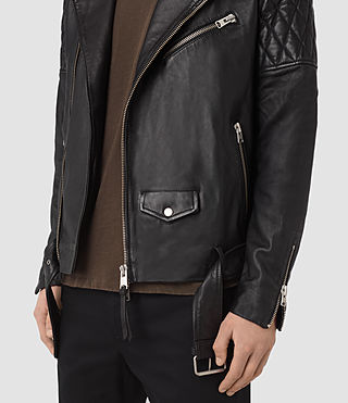 Hombre Boyson Leather Biker Jacket (Black) - product_image_alt_text_4