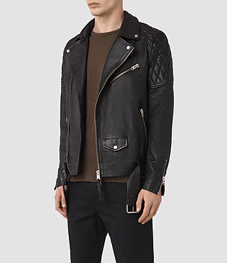 Hombres Boyson Leather Biker Jacket (Black) - product_image_alt_text_5