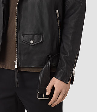 Hombre Boyson Leather Biker Jacket (Black) - product_image_alt_text_6