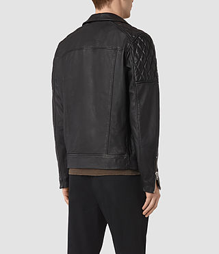 Hombre Boyson Leather Biker Jacket (Black) - product_image_alt_text_7