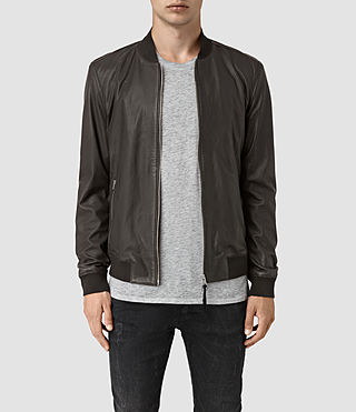 Mens Mower Leather Bomber Jacket (Slate Grey) - product_image_alt_text_1
