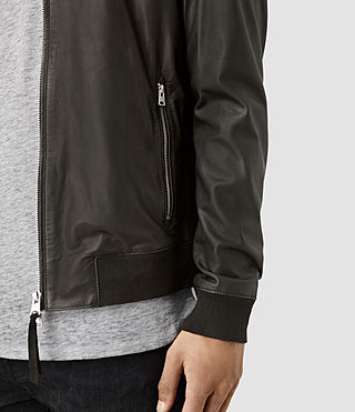 Mens Mower Leather Bomber Jacket (Slate Grey) - product_image_alt_text_2
