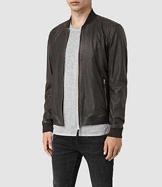 Mens Mower Leather Bomber Jacket (Slate Grey) - product_image_alt_text_3