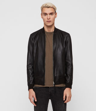 Hombres Mower Leather Bomber Jacket (Black)