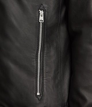 Men's Mower Leather Bomber Jacket (Black) - Image 5