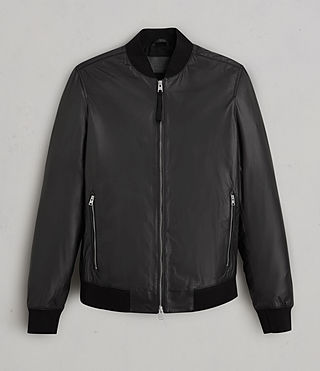 Men's Mower Leather Bomber Jacket (Black) - Image 9