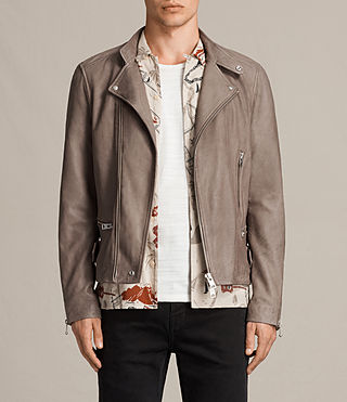 Men's Gibson Leather Biker Jacket (Chrome Grey) - product_image_alt_text_1
