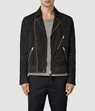 Hombres Miller Perforated Suede Biker (Washed Black)