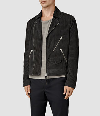 Uomo Miller Perforated Suede Biker (Washed Black) - product_image_alt_text_3
