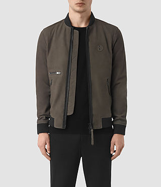 Mens Wray Suede Bomber Jacket (DARK SLATE GREY)