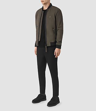 Hommes Bomber Wray en cuir velours (DARK SLATE GREY) - product_image_alt_text_2