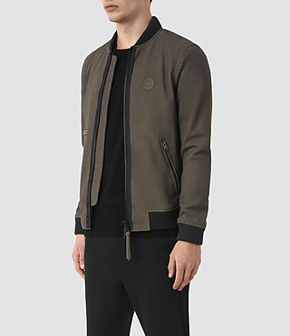 Hommes Bomber Wray en cuir velours (DARK SLATE GREY) - product_image_alt_text_4