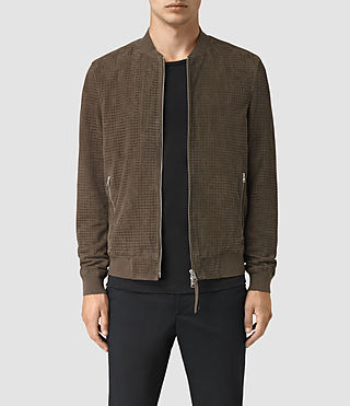 Mens Lynott Perforated Suede Bomber (Khaki Green)