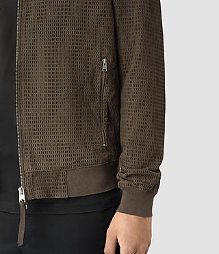 Men's Lynott Perforated Suede Bomber (Khaki Green) - product_image_alt_text_2