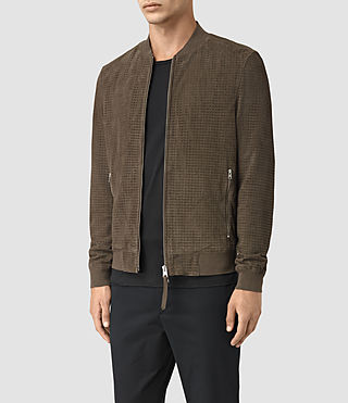 Hombre Lynott Perforated Suede Bomber (Khaki Green) - product_image_alt_text_3