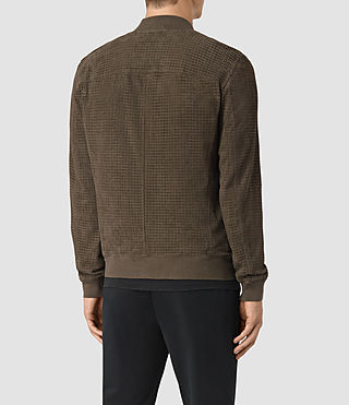 Hombre Lynott Perforated Suede Bomber (Khaki Green) - product_image_alt_text_4