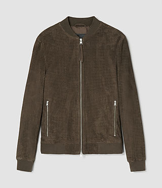 Men's Lynott Perforated Suede Bomber (Khaki Green) - product_image_alt_text_5