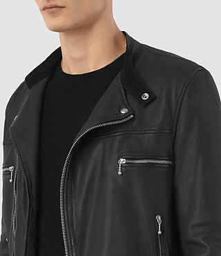 Hombre Kline Leather Biker Jacket (Black)