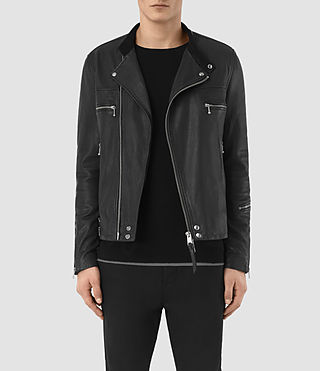 Men's Kline Leather Biker Jacket (Black) - product_image_alt_text_2