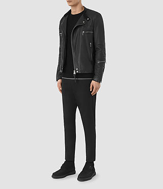 Men's Kline Leather Biker Jacket (Black) - product_image_alt_text_6