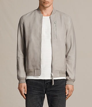 Men's Miko Leather Bomber Jacket (Smoke Grey) -