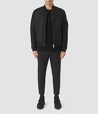 Mens Kio Shearling Bomber Jacket (Black)