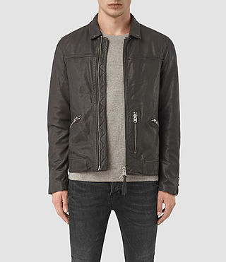 Men's Hokusai Leather Jacket (ANTHRACITE GREY)