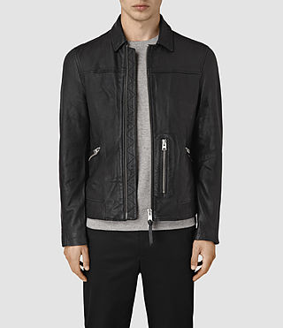 Mens Hokusai Leather Jacket (Black)