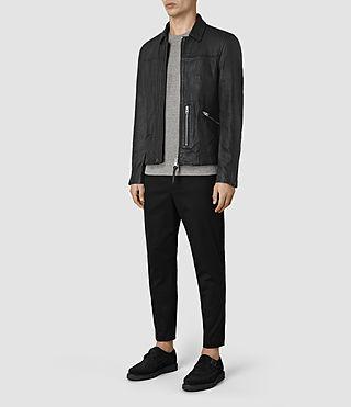 Men's Hokusai Leather Jacket (Black) - product_image_alt_text_2