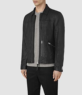 Men's Hokusai Leather Jacket (Black) - product_image_alt_text_3