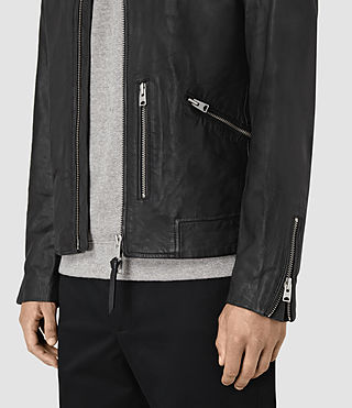Men's Hokusai Leather Jacket (Black) - product_image_alt_text_4