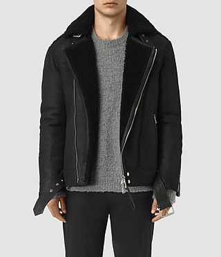 Mens Brennand Shearling Biker Jacket (Black)