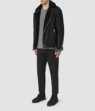 Hombres Brennand Shearling Biker Jacket (Black) - product_image_alt_text_2