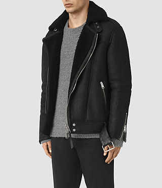 Hombres Brennand Shearling Biker Jacket (Black) - product_image_alt_text_3